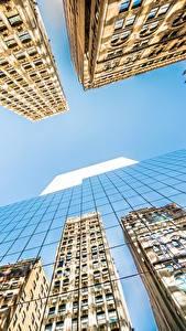 Обои Небоскребы Здания Небо Америка Вид снизу Стекло Отражение Нью-Йорк Манхэттен