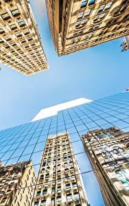 Обои Небоскребы Здания Небо Штаты Вид снизу Стекло Отражение Нью-Йорк Манхэттен Города