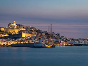 Фото Испания Дома Пристань Вечер Маяки Dalt Vila Ibiza Города