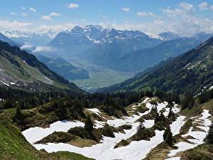 Картинки Швейцария Гора Пейзаж Альпы Снег Glarus, Mountain Glares, Braunwald