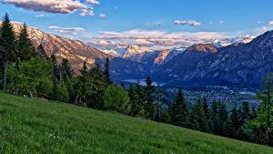 Фото Австрия Гора Альпы Трава Деревьев Riedln Bad Goisern