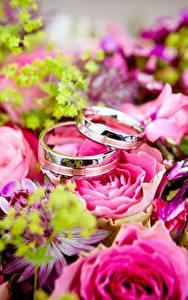 Обои Букет Розы Крупным планом Кольцо Золотой Два