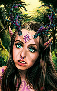 Картинки Сверхъестественные существа Рога Смотрит Лицо Фантастика Девушки