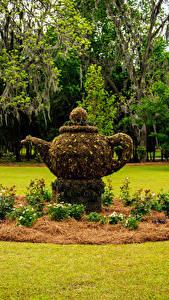 Обои Штаты Парки Скульптуры Чайник Газон Thomasville Rose Garden