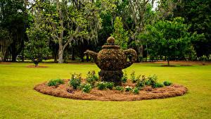 Обои США Парки Скульптуры Чайник Газон Thomasville Rose Garden Природа