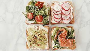 Фото Бутерброды Овощи Рыба Хлеб Редис Помидоры Пища