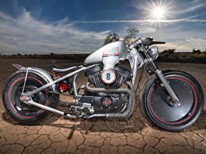 Картинки Harley-Davidson Пустыни Сбоку Колесо Мотоциклы