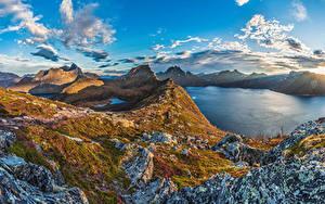 Фотография Норвегия Горы Озеро Небо Облака Senja Island Природа