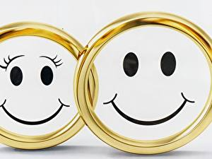 Обои Смайлы Улыбка Двое Кольцо Золотой