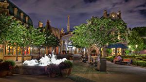 Фото Штаты Парки Вечер Дома Фонтаны Флорида Дизайн Уличные фонари Деревьев Epcot Walt Disney World Orlando Города