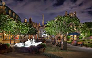 Фото Штаты Парки Вечер Дома Фонтаны Флорида Дизайн Уличные фонари Деревьев Epcot Walt Disney World Orlando город