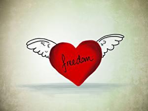 Картинка День всех влюблённых Сердце Крылья Английский freedom
