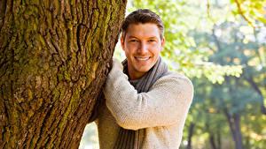 Картинки Мужчины Улыбка Взгляд Ствол дерева Свитер