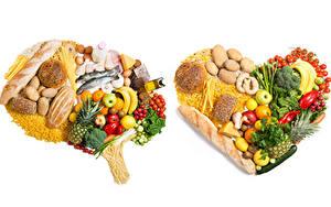 Картинки Овощи Фрукты Хлеб Рыба Сыры Картошка Томаты Бананы Белый фон Сердечко Макароны Пища