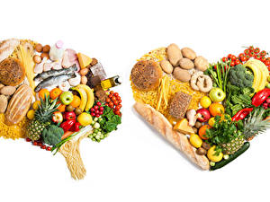 Картинки Овощи Фрукты Хлеб Рыба Сыры Картофель Томаты Бананы Белым фоном Серце Макароны Пища