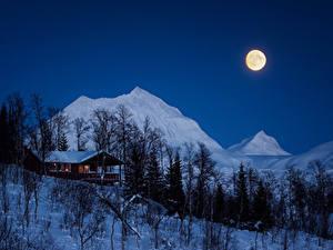 Обои Зима Дома Горы Ночь Луны Снег Деревья Природа