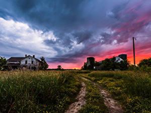 Фотографии США Рассветы и закаты Небо Дома Дороги Облака Трава Ozaukee  Wisconsin Природа