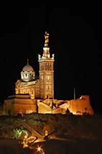 Картинки Собор Франция Ночь Холмы Notre-Dame de La garde, Marseille