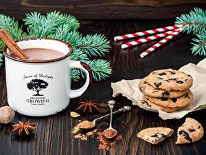 Фотография Рождество Какао напиток Печенье Бадьян звезда аниса Сладости Кружки Какао порошок