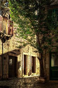 Картинка Хорватия Здания Улица Деревья Hvar город