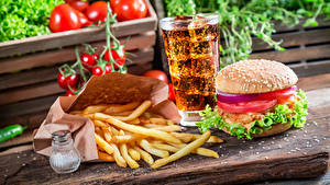 Обои Фастфуд Картофель фри Пиво Гамбургер Стакане Продукты питания