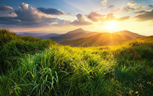 Обои Рассветы и закаты Холмов Траве Облако Природа