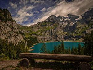 Картинки Швейцария Гора Озеро Пейзаж Ели Скамейка Kanton Bern Природа