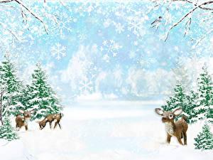 Обои Зимние Олени Детеныши Снегу Ель Природа