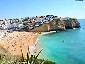 Картинка Берег Дома Португалия Пляж Praia do Carvoeiro Города