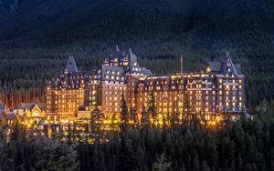 Обои Вечер Дома Канада Отель Банф Fairmont Banff Springs Города