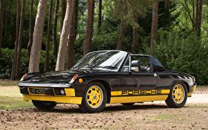 Картинка Porsche Ретро Стайлинг Черные Металлик Родстер 1974 914 Limited Edition машины