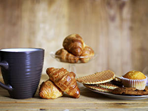 Обои Круассан Печенье Кекс Завтрак Чашка