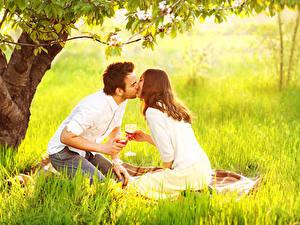 Картинка Мужчины Влюбленные пары Вино Трава Пикник Двое Поцелуй Бокалы Девушки