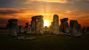 Картинки Рассвет и закат Англия Камина Wiltshire, Stonehenge