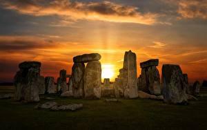 Картинки Рассвет и закат Англия Камина Wiltshire, Stonehenge Природа