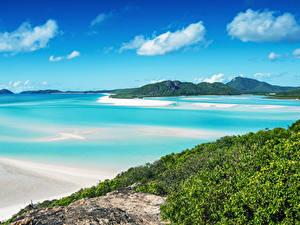 Обои Австралия Побережье Небо Траве Залив Whitsunday Island