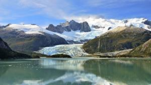 Обои для рабочего стола Горы Озеро Чили Скале Снега Andes, Patagonia Природа