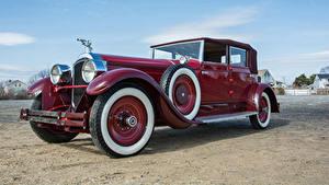 Фотография Ретро Темно красный Металлик 1928 Packard Custom Eight Convertible Sedan by Murphy Автомобили