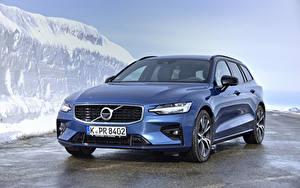 Картинка Вольво Синий 2018-19 V60 D3 R-Design Worldwide Машины