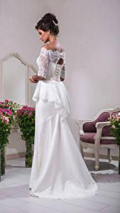 Фотография Букет Невеста Платья Шатенка девушка