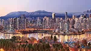 Обои Канада Дома Побережье Ванкувер город