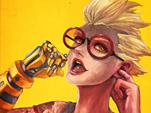 Картинка Рисованные Overwatch Очки Лица Блондинки Fan ART Junkrat Игры Фэнтези Девушки