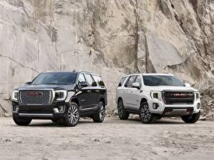 Обои GMC Две Белый Черный Металлик Внедорожник Спереди Yukon, Denali, AT4, 2020 Автомобили