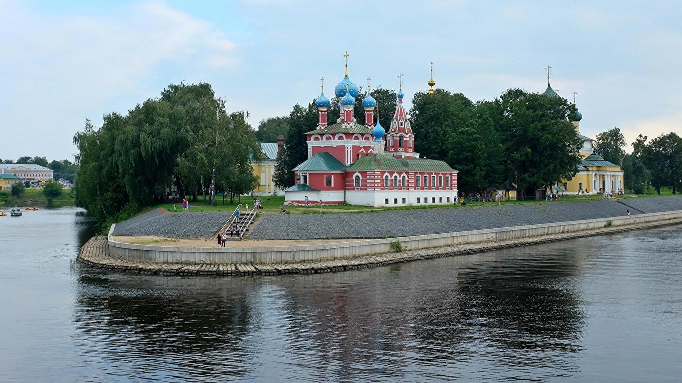 Фото Церковь Россия Uglich River Volga речка Храмы Города 1366x768 Реки город