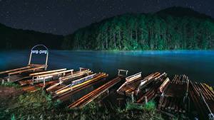 Фотография Таиланд Реки Леса Пирсы Ночь Mae Hong Son Природа