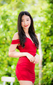 Картинка Азиатка Брюнетка Платья Руки Улыбка Взгляд Боке молодая женщина