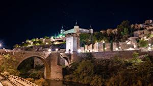 Фотография Испания Толедо Здания Мосты Ночные Уличные фонари Города