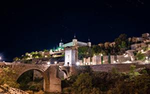 Фотография Испания Толедо Здания Мосты Ночные Уличные фонари город