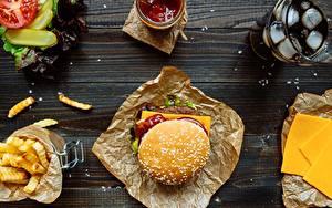 Фотография Гамбургер Быстрое питание Кетчуп Еда