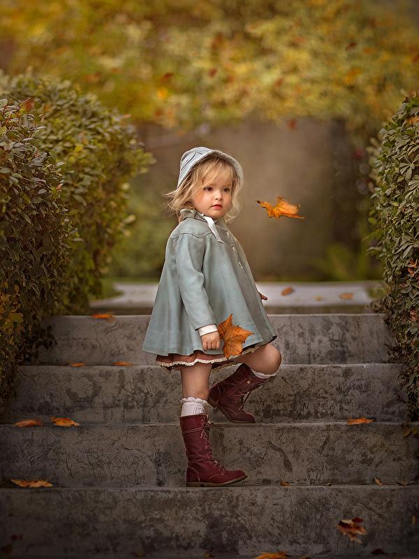 Картинка девочка Листья Размытый фон Дети осенние лестницы 600x800 для мобильного телефона Девочки лист Листва боке ребёнок Осень Лестница